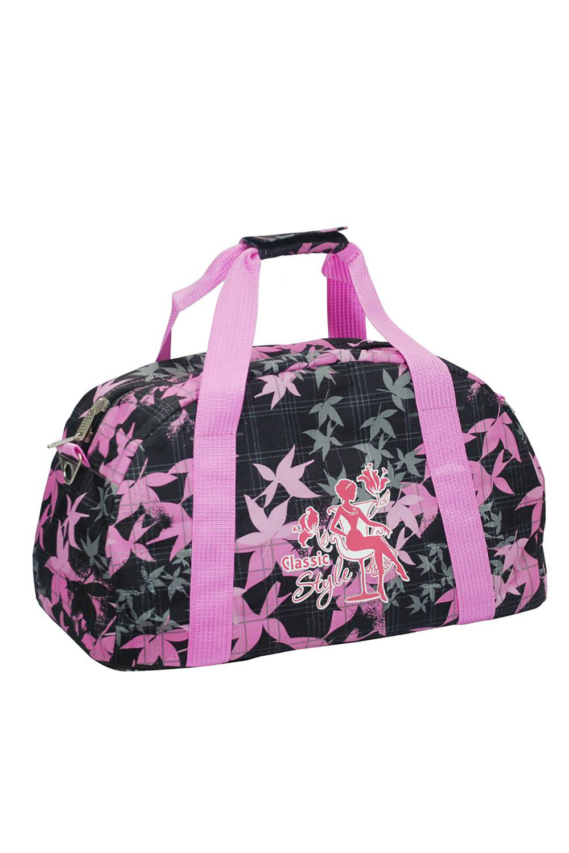 СумкаСпортивные<br>Яркая сумка для активного отдыха или занятий спортом из качественных ярких материалов. Одно основное отделение с застежкой на молнию. Удобные короткие ручки, в комплекте длинный ремень.  Размеры: 45*23*27 см  Цвет: черный, розовый<br><br>По материалу: Тканевые<br>По размеру: Средние<br>По рисунку: Растительные мотивы,Цветные,С принтом<br>По способу ношения: В руках,На плечо<br>По степени жесткости: Мягкие<br>По типу застежки: С застежкой молнией<br>Ручки: Длинные,Короткие<br>По стилю: Повседневный стиль,Спортивный стиль<br>По форме: Трапециевидные<br>Размер : UNI<br>Материал: Полиэстер<br>Количество в наличии: 1