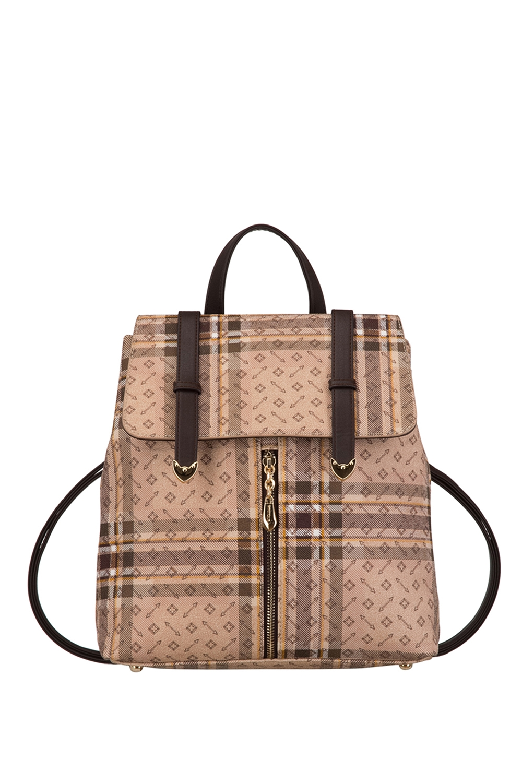 РюкзакРюкзаки<br>Удобный и вместительный сумка-рюкзак  Цвет: бежевый, коричневый и др.  Размер:  длина 29 см высота 32 см ширина 11 см<br><br>По материалу: Искусственная кожа<br>По рисунку: Цветные,С принтом,В клетку<br>По силуэту стенок: Трапециевидные<br>По степени жесткости: Полужесткие<br>По типу застежки: С застежкой молнией<br>По элементам: Карман под телефон<br>Ручки: Плечевые,Тонкие<br>Отделения: 1 отделение<br>Размер : UNI<br>Материал: Искусственная кожа<br>Количество в наличии: 1