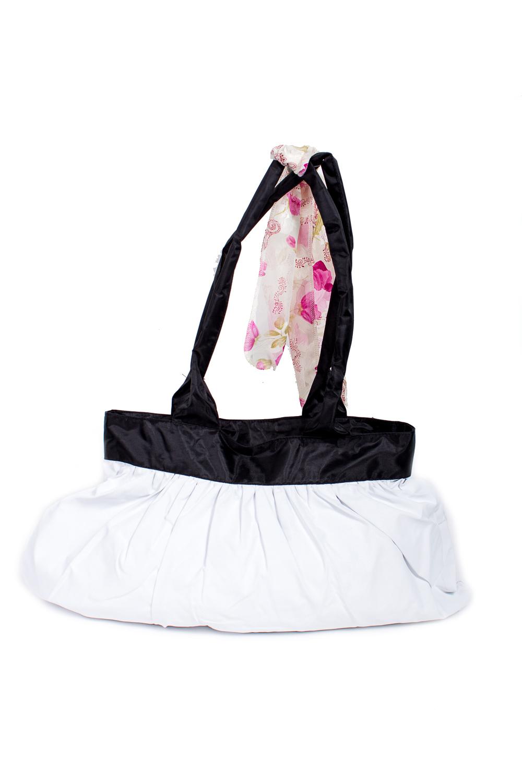 СумкаСумки-шоппинг<br>Удобная и вместительная женская сумка.  Размеры: 29*45 см.  Цвет: белый, черный<br><br>По материалу: Тканевые<br>По размеру: Средние<br>По рисунку: Однотонные<br>По силуэту стенок: Прямоугольные<br>По способу ношения: В руках,На плечо<br>По степени жесткости: Мягкие<br>Ручки: Длинные<br>По сезону: Всесезон<br>Размер : UNI<br>Материал: Полиэстер<br>Количество в наличии: 1
