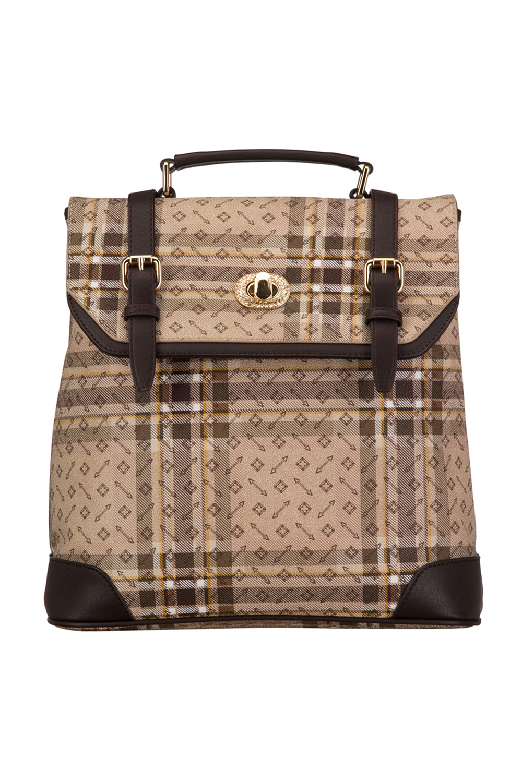 РюкзакРюкзаки<br>Удобный и вместительный сумка-рюкзак  Цвет: бежевый, коричневый  Размер:  длина 32см высота 32 см ширина 13 см<br><br>По материалу: Искусственная кожа<br>По образу: Город<br>По рисунку: Цветные,С принтом,В клетку<br>По силуэту стенок: Трапециевидные<br>По степени жесткости: Полужесткие<br>По типу застежки: С застежкой молнией<br>По элементам: Карман под телефон<br>Ручки: Плечевые,Тонкие<br>Отделения: 1 отделение<br>Размер : UNI<br>Материал: Искусственная кожа<br>Количество в наличии: 1