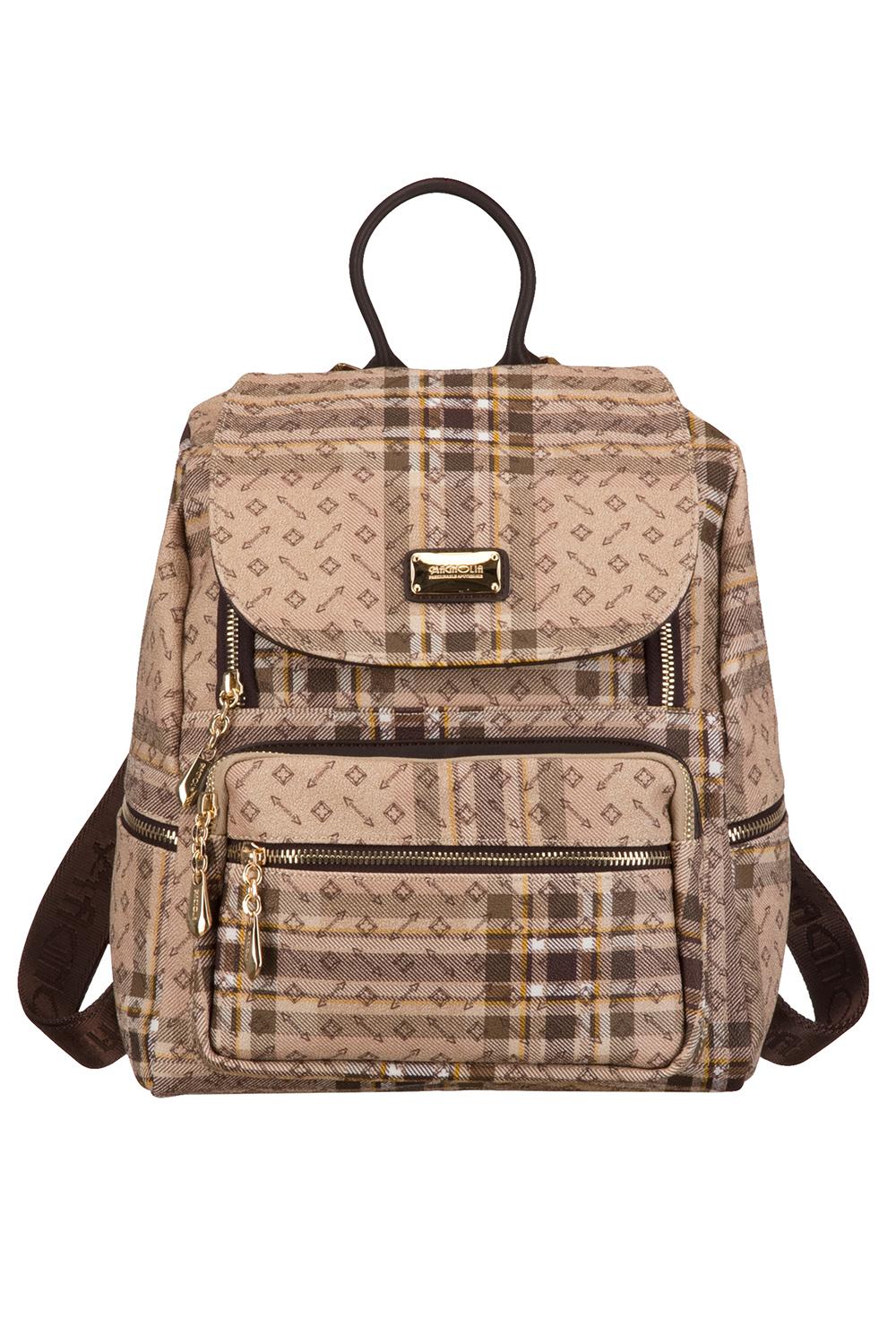 РюкзакРюкзаки<br>Удобный и вместительный сумка-рюкзак  Цвет: бежевый, коричневый<br><br>По материалу: Искусственная кожа<br>По рисунку: Цветные,С принтом,В клетку<br>По степени жесткости: Полужесткие<br>По типу застежки: С застежкой молнией<br>По элементам: Карман под телефон<br>Ручки: Плечевые,Тонкие<br>Отделения: 1 отделение<br>По форме: Трапециевидные<br>Размер : UNI<br>Материал: Искусственная кожа<br>Количество в наличии: 1