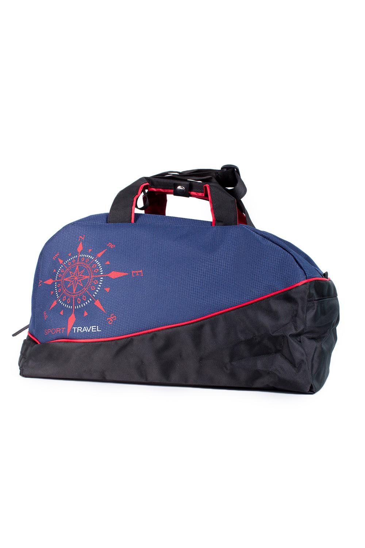 СумкаСпортивные<br>Удобная спортивная сумка с двумя ручками. Модель с застежкой на молнию.  В изделии использованы цвета: черный, синий и др.  Габариты, см: 27х46х23<br><br>По материалу: Тканевые<br>По рисунку: С принтом,Цветные<br>По способу ношения: В руках<br>По степени жесткости: Мягкие<br>По типу застежки: С застежкой молнией<br>По форме: Трапециевидные<br>Ручки: Короткие<br>Размер : UNI<br>Материал: Полиэстер<br>Количество в наличии: 2