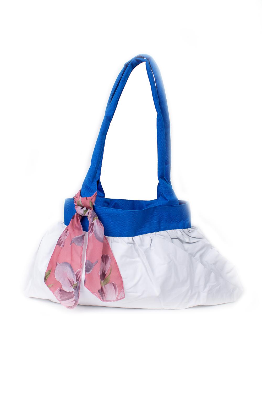 СумкаСумки-шоппинг<br>Удобная и вместительная женская сумка.  Размеры: 29*45 см.  Цвет: белый, синий<br><br>По материалу: Тканевые<br>По размеру: Средние<br>По рисунку: Однотонные<br>По силуэту стенок: Прямоугольные<br>По способу ношения: В руках,На плечо<br>По степени жесткости: Мягкие<br>Ручки: Длинные<br>По сезону: Всесезон<br>Размер : UNI<br>Материал: Полиэстер<br>Количество в наличии: 3