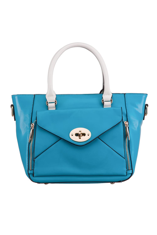 СумкаКлассические<br>Красивая, удобная и вместительная сумка станет отличной помощницей.  Цвет: голубой, белый, черный  Размер:  длина 28 см высота 24 см ширина 13 см<br><br>По материалу: Искусственная кожа<br>По рисунку: Однотонные<br>По силуэту стенок: Трапециевидные<br>По способу ношения: На плечо<br>По степени жесткости: Мягкие<br>По типу застежки: С застежкой молнией<br>Ручки: Короткие<br>Размер : UNI<br>Материал: Искусственная кожа<br>Количество в наличии: 1