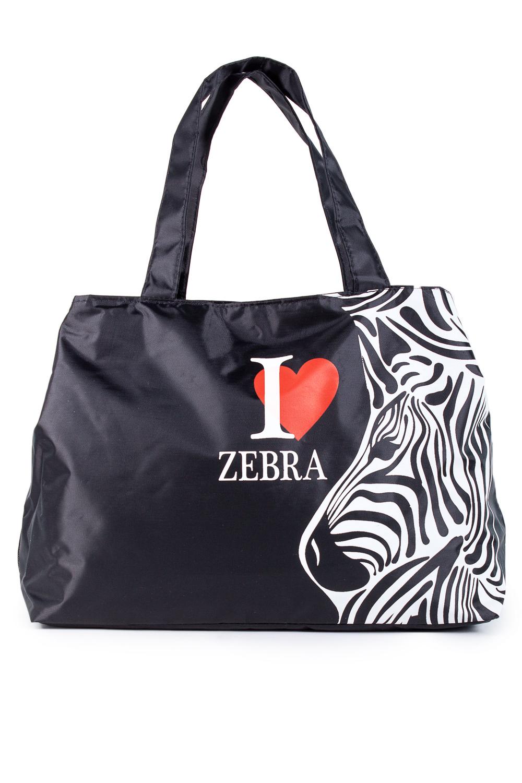 СумкаСпортивные<br>Спортивная женская сумка. Модель с застежкой на молнию и двумя ручками.  В изделии использованы цвета: черный, белый, красный  Габариты, см: 30х39х17<br><br>По рисунку: Зебра,С принтом,Цветные<br>По способу ношения: В руках<br>По степени жесткости: Мягкие<br>По стилю: Повседневный стиль<br>По форме: Трапециевидные<br>Ручки: Короткие<br>Размер : UNI<br>Материал: Полиэстер<br>Количество в наличии: 1
