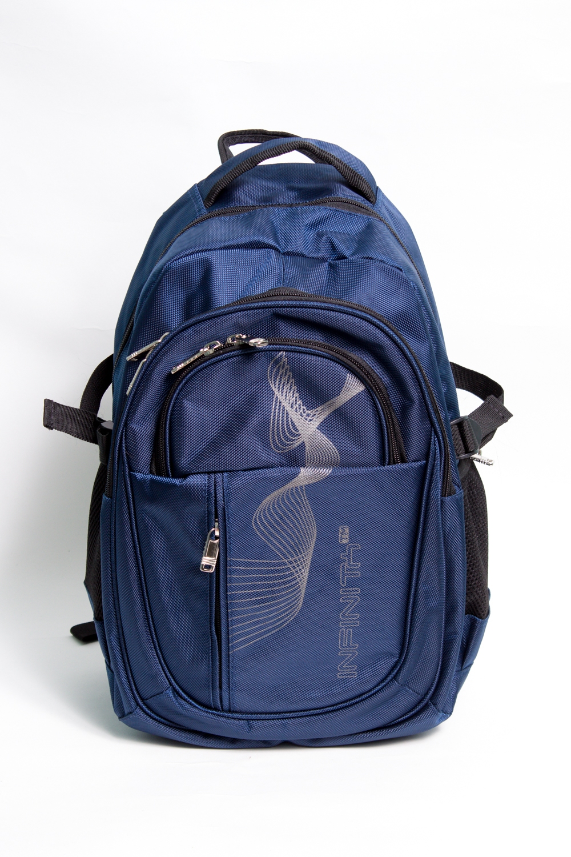 РюкзакРюкзаки<br>Модный рюкзак для активного отдыха или занятий спортом из качественных ярких материалов. Снаружи передние карманы на молнии, удобные лямки и ручка.  Размеры: 29*45*17 см  Цвет: синий, черный<br><br>Размер : UNI<br>Материал: Полиэстер<br>Количество в наличии: 3