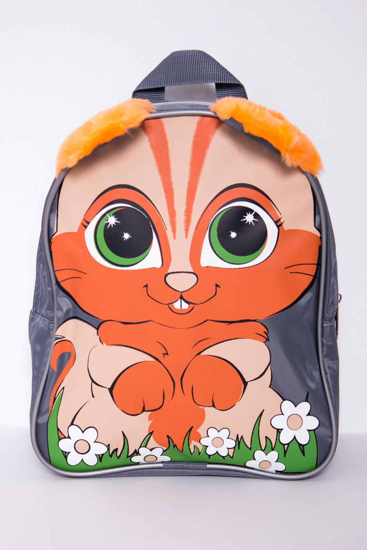 РюкзакСумки и кошельки<br>Забавный рюкзак с ярким принтом. Модель имеет 2 плечевые и 1 короткую ручку.В изделии использованы цвета: серый, оранжевый и др.Габариты, см: 25х21х7,5<br><br>Размер : UNI<br>Материал: Полиэстер<br>Количество в наличии: 2