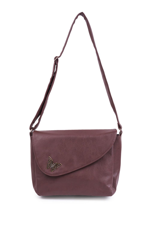 Сумка marimann повседневная кожаная темно серая сумочка с брошью бабочкой от бренда marimann