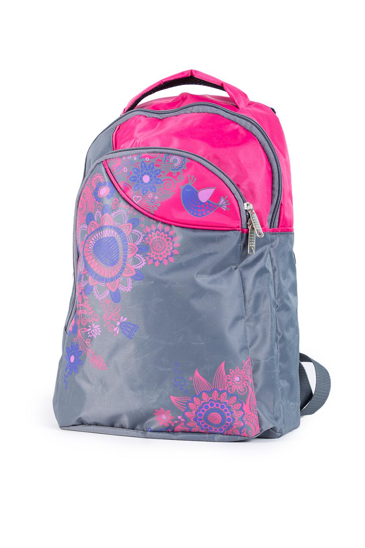 РюкзакСумки и кошельки<br>Молодежный рюкзак с интересным принтом. Модель имеет 2 плечевые и 1 короткую ручку.  В изделии использованы цвета: серый, розовый и др.  Габариты, см: 31x24x9<br><br>По сезону: Всесезон<br>Размер : UNI<br>Материал: Полиэстер<br>Количество в наличии: 2