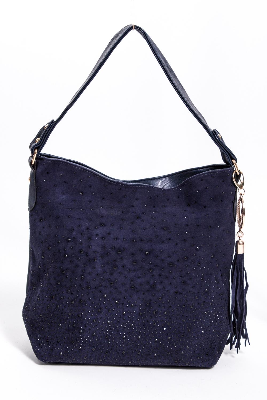 Классическая сумкаКлассические<br>Женская сумка из искусственной кожи и замши.  Размеры: длина 38 см высота 33 см ширина 12 см  Цвет: синий<br><br>По материалу: Искусственная кожа,Замша<br>По размеру: Средние<br>По рисунку: Однотонные<br>По степени жесткости: Мягкие<br>По типу застежки: С застежкой молнией<br>По элементам: Карман на молнии,Карман под телефон<br>Ручки: Короткие,Регулируемые<br>По форме: Квадратные<br>Размер : UNI<br>Материал: Искусственная кожа + Искусственная замша<br>Количество в наличии: 2