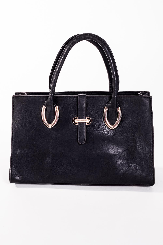 Классическая сумкаКлассические<br>Классическая женская сумка прямоугольной формы с двумя короткими ручками. Задний карман на молнии.  Цвет: черный  Размер:  длина 35 см высота 21 см ширина 12 см<br><br>По материалу: Искусственная кожа<br>По размеру: Средние<br>По рисунку: Однотонные<br>По силуэту стенок: Прямоугольные<br>По способу ношения: В руках<br>По степени жесткости: Полужесткие<br>По типу застежки: С застежкой молнией<br>Ручки: Короткие<br>Размер : UNI<br>Материал: Искусственная кожа<br>Количество в наличии: 1