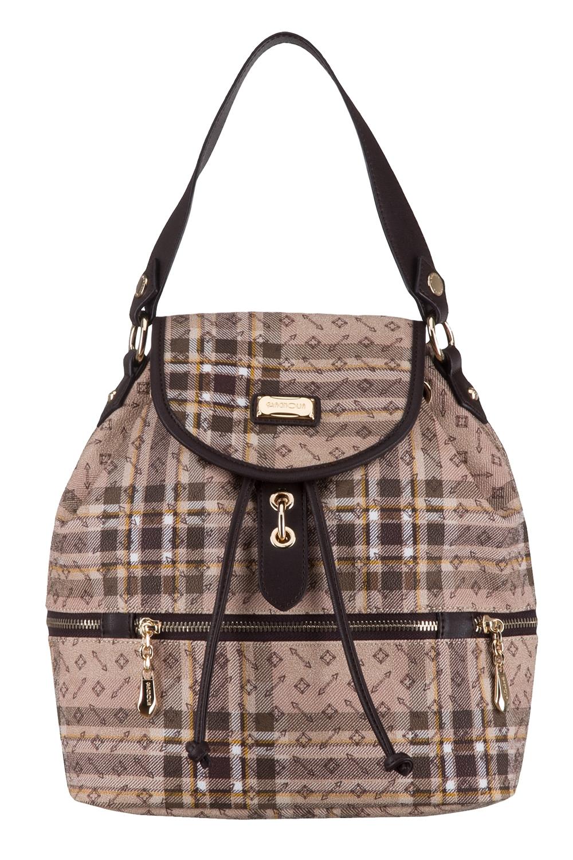 РюкзакРюкзаки<br>Удобный и вместительный сумка-рюкзак  Цвет: бежевый, коричневый  Размер:  длина 27 см высота 32 см ширина 14 см<br><br>По материалу: Искусственная кожа<br>По рисунку: Цветные,С принтом,В клетку<br>По степени жесткости: Полужесткие<br>По типу застежки: С застежкой молнией,С клапаном<br>По элементам: Карман под телефон<br>Ручки: Плечевые,Широкие<br>Отделения: 1 отделение<br>По форме: Трапециевидные<br>Размер : UNI<br>Материал: Искусственная кожа<br>Количество в наличии: 1