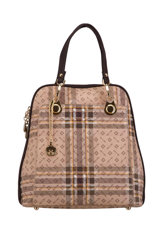 РюкзакРюкзаки<br>Удобный и вместительный сумка-рюкзак  Цвет: бежевый, коричневый  Размер:  длина 28 см высота 30 см ширина 12 см<br><br>По материалу: Искусственная кожа<br>По образу: Город<br>По рисунку: Цветные,С принтом,В клетку<br>По силуэту стенок: Трапециевидные<br>По степени жесткости: Полужесткие<br>По типу застежки: С застежкой молнией<br>По элементам: Карман под телефон<br>Ручки: Плечевые,Тонкие<br>Отделения: 1 отделение<br>Размер : UNI<br>Материал: Искусственная кожа<br>Количество в наличии: 1