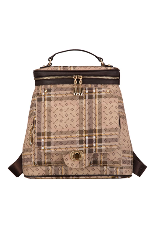 РюкзакРюкзаки<br>Удобный и вместительный сумка-рюкзак  Цвет: бежевый, коричневый  Размер:  длина 32 см высота 33 см ширина 13 см<br><br>Отделения: без отделений<br>По материалу: Искусственная кожа<br>По образу: Город,Жизнь<br>По рисунку: В полоску,С принтом (печатью),Цветные<br>По силуэту стенок: Трапециевидные<br>По степени жесткости: Полужесткие<br>По стилю: Повседневные<br>По типу застежки: С застежкой молнией<br>По форме: Городские<br>По элементам: Карман под телефон<br>Ручки: Плечевые,Широкие<br>Размер : UNI<br>Материал: Искусственная кожа<br>Количество в наличии: 1