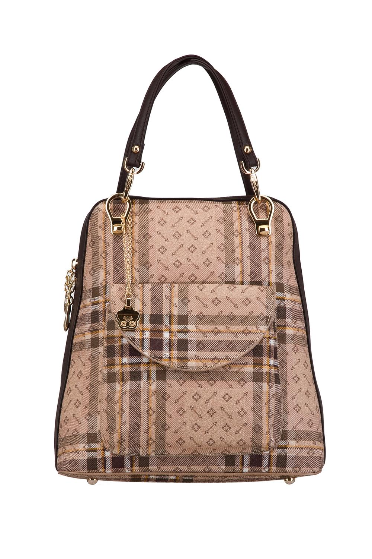 РюкзакРюкзаки<br>Удобный и вместительный сумка-рюкзак  Цвет: бежевый, коричневый  Размер:  длина 28 см высота 32 см ширина 12 см<br><br>По материалу: Искусственная кожа<br>По образу: Город<br>По рисунку: Цветные,С принтом,В клетку<br>По силуэту стенок: Трапециевидные<br>По степени жесткости: Полужесткие<br>По типу застежки: С застежкой молнией<br>По элементам: Карман под телефон<br>Ручки: Плечевые,Тонкие<br>Отделения: 1 отделение<br>Размер : UNI<br>Материал: Искусственная кожа<br>Количество в наличии: 1