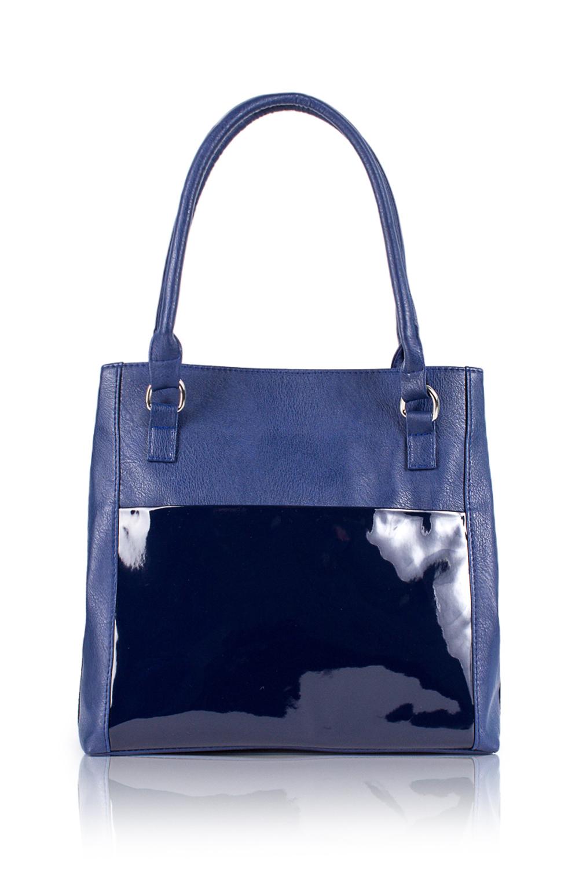 СумкаКлассические<br>Женские сумки бренда DINESSI - это стильные аксессуары, которые по достоинству оценят представительницы прекрасного пола.  Сумка с застежкой на магнит и двумя короткими ручками. Бока регулируются кнопками. На передней части сумки накладной карман. На задней части карман на молнии. Внутри два накладных кармана и карман на молнии.  Цвет: синий.  Размеры: Высота - 32 ± 1 см Длина - 29 ± 1 см Ширина - 13 ± 1 см Длина ручек - 60 ± 1 см<br><br>Отделения: 1 отделение<br>По материалу: Искусственная кожа,Лакированная кожа<br>По размеру: Средние<br>По рисунку: Однотонные<br>По способу ношения: В руках,На запастье,На плечо<br>По степени жесткости: Мягкие<br>По типу застежки: На магните,С застежкой молнией<br>По форме: Квадратные<br>По элементам: Карман на молнии,Карман под телефон,С декором<br>Ручки: Короткие<br>Размер : UNI<br>Материал: Искусственная кожа<br>Количество в наличии: 1