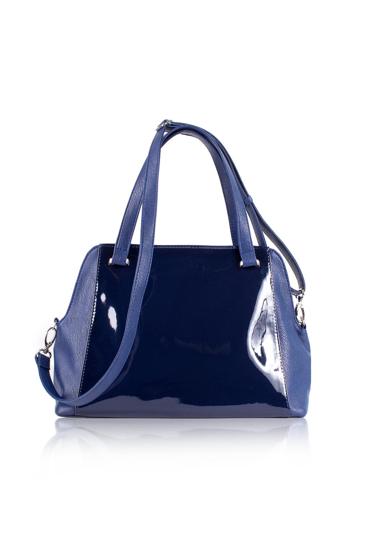 СумкаКлассические<br>Женские сумки бренда DINESSI - это стильные аксессуары, которые по достоинству оценят представительницы прекрасного пола.  Сумка с застежкой на молнию, двумя короткими ручками и длинной. регулируемой лямкой. На задней части сумки карман на молнии. Внутри два накладных кармана и карман на молнии.   Цвет: синий.  Размеры: Высота - 25 ± 1 см Длина - 35,5 ± 1 см Ширина - 12,5 ± 1 см Длина ручки - 46 ± 1 см<br><br>По материалу: Искусственная кожа,Лакированная кожа<br>По размеру: Средние<br>По рисунку: Однотонные<br>По способу ношения: В руках,На запастье,На плечо,Через плечо<br>По степени жесткости: Мягкие<br>По типу застежки: С застежкой молнией<br>По форме: Трапециевидные<br>По элементам: Карман на молнии,Карман под телефон,С декором,С ремнями<br>Ручки: Длинные,Короткие,Регулируемые<br>Размер : UNI<br>Материал: Искусственная кожа + Лак<br>Количество в наличии: 2