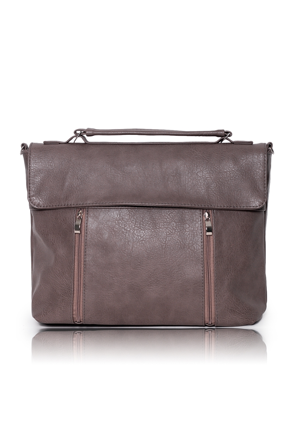 СумкаДеловые<br>Женские сумки бренда DINESSI - это стильные аксессуары, которые по достоинству оценят представительницы прекрасного пола.  Сумка-портфель с широким клапаном и застежкой на молнию. На передней части сумки два кармана с декоративными молниями. На задней части сумки карман на молнии. Внутри 3 отделения (одно из них на молнии), два накладных кармана и карман на молнии.  Цвет: серо-бежевый.  Размеры: Высота - 29 ± 1 см Длина по дну - 34 ± 1 см Глубина - 11 ± 1 см<br><br>Отделения: 3 отделения<br>По материалу: Искусственная кожа<br>По размеру: Средние<br>По рисунку: Однотонные<br>По способу ношения: В руках,На запастье,На плечо,Через плечо<br>По степени жесткости: Мягкие<br>По типу застежки: С застежкой молнией,С клапаном<br>По форме: Прямоугольные<br>По элементам: Карман на молнии,Карман под телефон,С отделочной фурнитурой,С ремнями<br>Ручки: Длинные,Короткие,Регулируемые<br>Размер : UNI<br>Материал: Искусственная кожа<br>Количество в наличии: 1