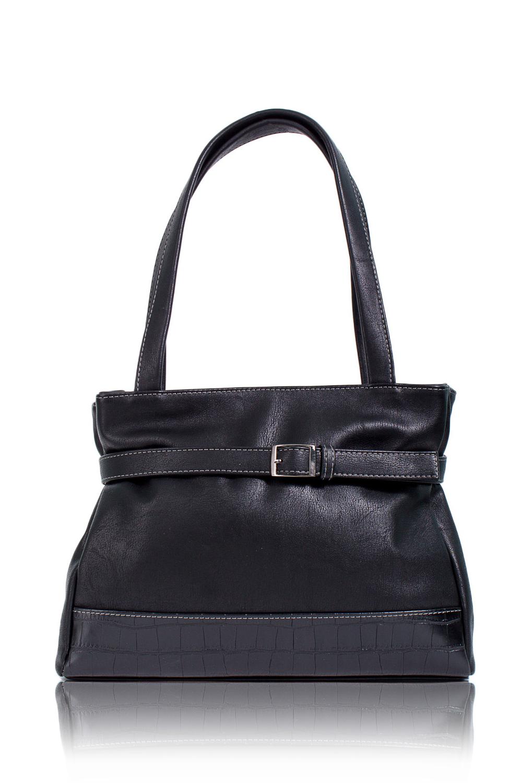 СумкаКлассические<br>Женские сумки бренда DINESSI - это стильные аксессуары, которые по достоинству оценят представительницы прекрасного пола.  Сумка с застежкой на молнию и двумя плоскими ручками. На передней части сумки декоративный ремешок с пряжкой. Внутри два накладных кармана и карман на молнии.   Цвет: черный.  Подклад может отличаться от представленного на фото.  Размеры: Высота - 25 ± 1 см Ширина - 10,5 ± 1 см Длина - 31 ± 1 см Длина ручек - 54 ± 1 см<br><br>Отделения: 1 отделение<br>По материалу: Искусственная кожа<br>По размеру: Средние<br>По рисунку: Однотонные<br>По способу ношения: В руках,На запастье,На плечо<br>По степени жесткости: Мягкие<br>По типу застежки: С застежкой молнией<br>По элементам: Карман на молнии,Карман под телефон<br>Ручки: Короткие<br>По форме: Прямоугольные<br>Размер : UNI<br>Материал: Искусственная кожа<br>Количество в наличии: 1