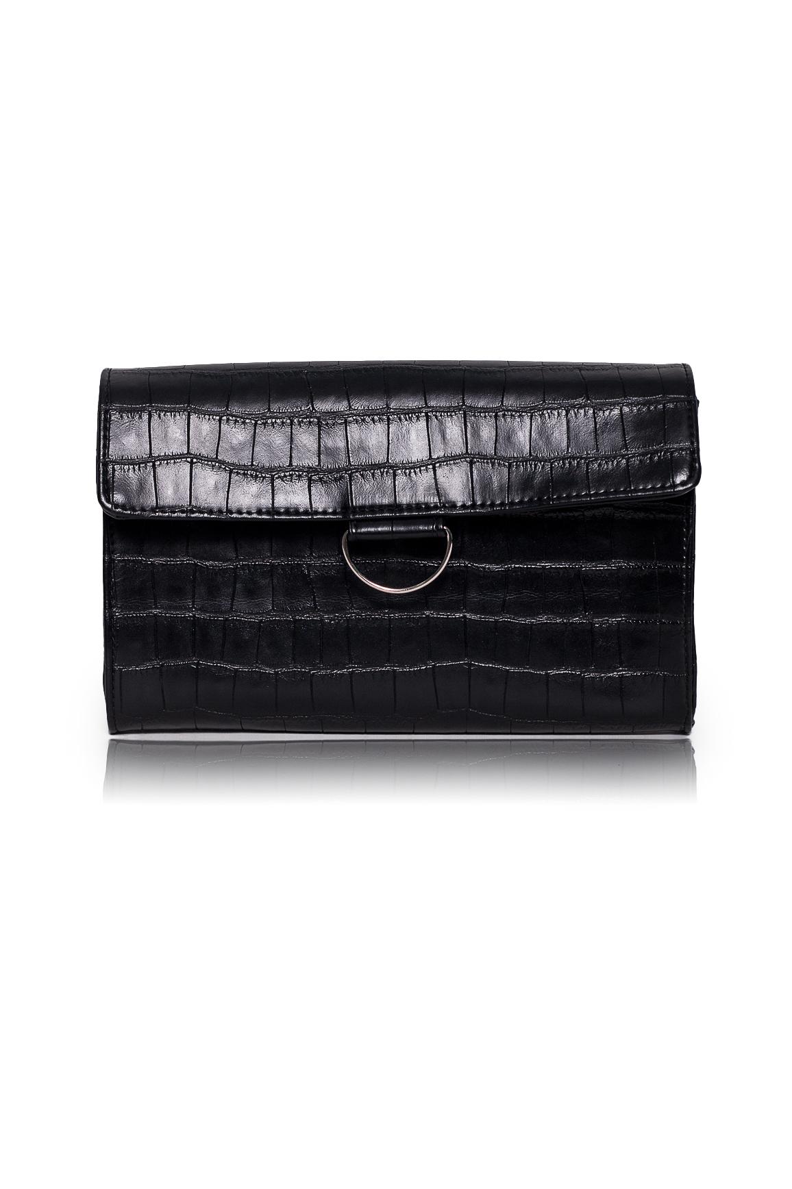 КлатчКлатчи<br>Женские сумки бренда DINESSI - это стильные аксессуары, которые по достоинству оценят представительницы прекрасного пола.  Клатч с клапаном, застежкой на магнит и отстегивающейся лямкой.   Цвет: черный.  Размеры: Высота - 15,5 ± 1 см Длина - 25 ± 1 см Ширина - 5 ± 1 см<br><br>Отделения: 1 отделение<br>По материалу: Искусственная кожа<br>По образу: Город<br>По рисунку: Однотонные,Рептилия,Фактурный рисунок<br>По силуэту стенок: Прямоугольные<br>По способу ношения: В руках,На запастье<br>По степени жесткости: Полужесткие<br>По типу застежки: На магните<br>По форме: Конверт<br>По элементам: С декором<br>Ручки: Короткие<br>Размер : UNI<br>Материал: Искусственная кожа<br>Количество в наличии: 1