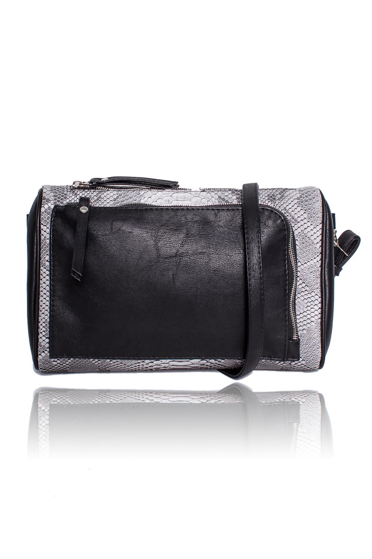 СумкаКлатчи<br>Женские сумки бренда DINESSI - это стильные аксессуары, которые по достоинству оценят представительницы прекрасного пола.  Сумка-клатч с застежкой на молнию, отстегивающейся петелькой и регулируемой, длинной лямкой. На передней части накладной карман с застежкой на молнию. Внутри два накладных кармана и карман на молнии.  Подклад может отличаться от представленного на фото.  Цвет: черный и серый.  Размеры: Высота - 19 ± 1 см Длина - 28 ± 1 см Ширина - 8 ± 1 см<br><br>Отделения: 2 отделения<br>По материалу: Искусственная кожа<br>По образу: Город<br>По размеру: Средние<br>По рисунку: Рептилия,Фактурный рисунок,Цветные<br>По силуэту стенок: Прямоугольные<br>По способу ношения: В руках,На запастье,На плечо,Через плечо<br>По степени жесткости: Мягкие<br>По типу застежки: С застежкой молнией<br>По элементам: Карман на молнии,Карман под телефон,С декором,С отделочной фурнитурой,С ремнями<br>Ручки: Длинные,Короткие,Регулируемые<br>Размер : UNI<br>Материал: Искусственная кожа<br>Количество в наличии: 1
