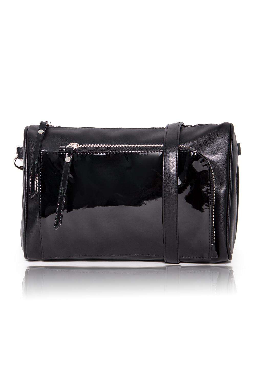 СумкаКлатчи<br>Женские сумки бренда DINESSI - это стильные аксессуары, которые по достоинству оценят представительницы прекрасного пола.  Сумка-клатч с застежкой на молнию, отстегивающейся петелькой и регулируемой, длинной лямкой. На передней части накладной карман с застежкой на молнию. Внутри два накладных кармана и карман на молнии.  Подклад может отличаться от представленного на фото.  Цвет: черный.  Размеры: Высота - 19 ± 1 см Длина - 28 ± 1 см Ширина - 8 ± 1 см<br><br>Отделения: 2 отделения<br>По материалу: Искусственная кожа,Лакированная кожа<br>По размеру: Средние<br>По рисунку: Однотонные<br>По способу ношения: В руках,На запастье,На плечо,Через плечо<br>По степени жесткости: Мягкие<br>По стилю: Повседневный стиль<br>По типу застежки: С застежкой молнией<br>По форме: Прямоугольные<br>По элементам: Карман на молнии,Карман под телефон,С декором,С отделочной фурнитурой,С ремнями<br>Ручки: Длинные,Короткие,Регулируемые<br>Размер : UNI<br>Материал: Искусственная кожа<br>Количество в наличии: 1