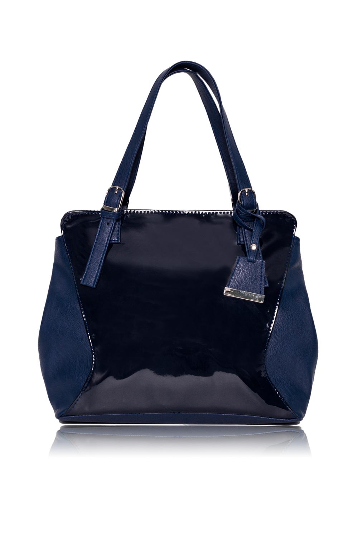 СумкаКлассические<br>Женские сумки бренда DINESSI - это стильные аксессуары, которые по достоинству оценят представительницы прекрасного пола.  Классическая сумка с застежкой на молнию и двумя короткими ручками с регулировкой пряжками. По бокам кнопки для изменения формы. На задней части сумки карман на молнии. Внутри два накладных кармана и карман на молнии.  Цвет: синий.  Подклад может отличаться от представленного на фото.  Размеры: 30,5 * 25,5 * 11 ± 1 см Длина ручки - 46 ± 1 см<br><br>Отделения: 1 отделение<br>По материалу: Искусственная кожа,Лакированная кожа<br>По размеру: Средние<br>По рисунку: Однотонные<br>По способу ношения: В руках,На запастье,На плечо<br>По степени жесткости: Полужесткие<br>По типу застежки: С застежкой молнией<br>По форме: Квадратные<br>По элементам: Карман на молнии,Карман под телефон,С декором,С отделочной фурнитурой<br>Ручки: Короткие,Регулируемые<br>Размер : UNI<br>Материал: Искусственная кожа + Лак<br>Количество в наличии: 1