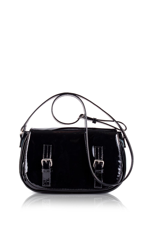 СумкаКлассические<br>Женские сумки бренда DINESSI - это стильные аксессуары, которые по достоинству оценят представительницы прекрасного пола.  Сумка с клапаном, застежкой на молнию и магнит и длинной, регулируемой лямкой. На задней части сумки карман на молнии. Внутри два накладных кармана и карман на молнии.  Подклад может отличаться от представленного на фото.  Цвет: черный.  Размеры: Высота - 17,5 ± 1 см Длина - 30 ± 1 см Ширина - 6 ± 1 см<br><br>По материалу: Искусственная кожа,Лакированная кожа<br>По размеру: Маленькие<br>По рисунку: Однотонные<br>По способу ношения: В руках,На плечо,Через плечо<br>По степени жесткости: Мягкие<br>По типу застежки: На магните,С застежкой молнией,С клапаном<br>По форме: Полукруглые<br>По элементам: Карман на молнии,Карман под телефон,С декором,С отделочной фурнитурой,С ремнями<br>Ручки: Длинные,Регулируемые<br>Размер : UNI<br>Материал: Искусственная кожа + Лак<br>Количество в наличии: 1