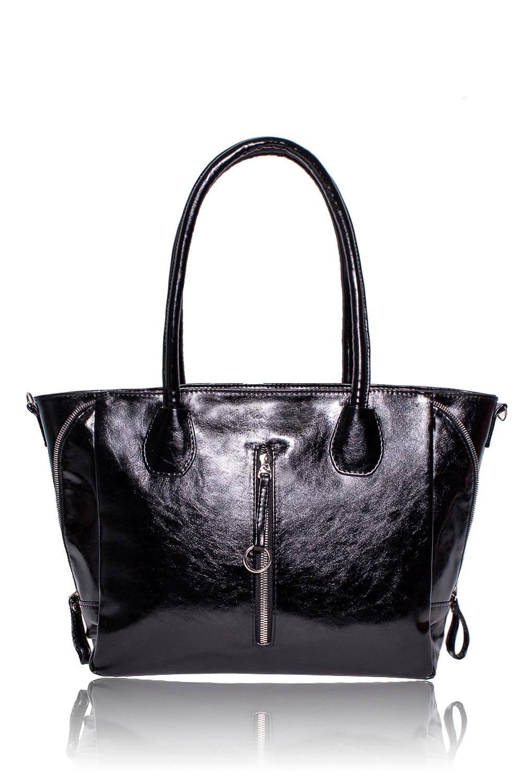 СумкаКлассические<br>Женские сумки бренда DINESSI - это стильные аксессуары, которые по достоинству оценят представительницы прекрасного пола.  Сумка с застежкой на молнию, двумя короткими ручками и съемной, регулируемой лямкой. По бокам декоративные молнии. На передней части сумки вертикальный карман. Внутри три отделения, одно из них на молнии, два накладных кармана и карман на молнии.  Цвет: черный.  Длина по верху - 42 ± 1 см Длина по дну - 31 ± 1 см Высота - 26 ± 1 см Глубина - 11,5 ± 1 см<br><br>Отделения: 3 отделения<br>По материалу: Искусственная кожа<br>По размеру: Средние<br>По рисунку: Однотонные<br>По способу ношения: В руках,На запастье,На плечо<br>По степени жесткости: Мягкие<br>По типу застежки: С застежкой молнией<br>По форме: Трапециевидные<br>По элементам: Карман на молнии,Карман под телефон,С декором,С отделочной фурнитурой,С ремнями<br>Ручки: Длинные,Короткие,Регулируемые<br>Размер : UNI<br>Материал: Искусственная кожа<br>Количество в наличии: 1