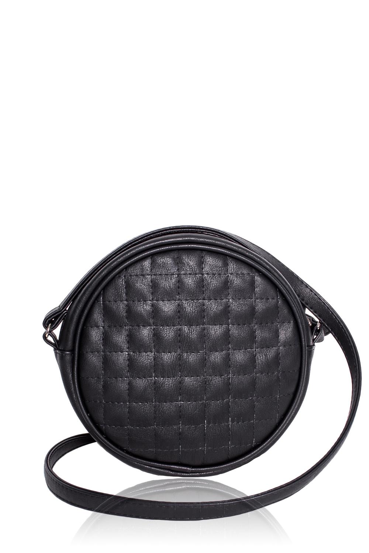 СумкаКлатчи<br>Женские сумки бренда DINESSI - это стильные аксессуары, которые по достоинству оценят представительницы прекрасного пола.  Сумка круглой формы с застежкой на молнию и длинной, регулируемой лямкой. Внутри накладной карман.   Цвет: черный.  Размеры: Высота - 19,5 ± 1 см Длина - 19,5 ± 1 см Ширина - 4,5 ± 1 см<br><br>Отделения: 1 отделение<br>По материалу: Искусственная кожа<br>По размеру: Маленькие<br>По рисунку: Однотонные,Фактурный рисунок<br>По способу ношения: В руках,На плечо,Через плечо<br>По степени жесткости: Мягкие<br>По типу застежки: С застежкой молнией<br>По элементам: Карман под телефон,С декором<br>Ручки: Длинные<br>По стилю: Повседневный стиль,Нарядный стиль<br>По форме: Круглые<br>Размер : UNI<br>Материал: Искусственная кожа<br>Количество в наличии: 1