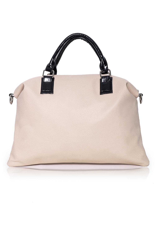 СумкаКлассические<br>Женские сумки бренда DINESSI - это стильные аксессуары, которые по достоинству оценят представительницы прекрасного пола.  Сумка с застежкой на молнию, двумя короткими ручками и длинной, регулируемой лямкой. Внутри два накладных кармана и карман на молнии.  Цвет: бежевый с черными ручками.  Высота - 31,5 ± 1 см Длина - 42 ± 1 см Длина ручек - 32 ± 1 см<br><br>По материалу: Искусственная кожа<br>По размеру: Крупные<br>По рисунку: Однотонные<br>По способу ношения: В руках,На запастье,На плечо,Через плечо<br>По степени жесткости: Мягкие<br>По типу застежки: С застежкой молнией<br>По форме: Трапециевидные<br>По элементам: Карман на молнии,Карман под телефон,С ремнями<br>Ручки: Длинные,Короткие,Регулируемые<br>Размер : UNI<br>Материал: Искусственная кожа<br>Количество в наличии: 1