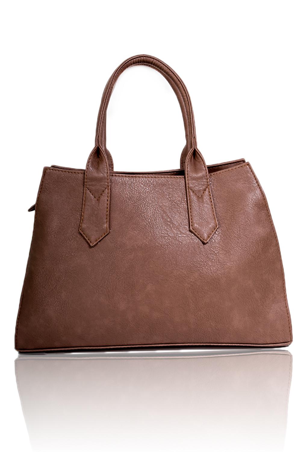 СумкаКлассические<br>Женские сумки бренда DINESSI - это стильные аксессуары, которые по достоинству оценят представительницы прекрасного пола.  Сумка классическая с застежкой на молнии и двумя короткими ручками. Внутри два накладных кармана и карман на молнии.  Цвет: коричневый.  Размеры: Высота - 23 ± 1 см Длина по верху- 32 ± 1 см Длина по низу- 40 ± 1 см Ширина - 10 ± 1 см<br><br>По материалу: Искусственная кожа<br>По размеру: Средние<br>По рисунку: Однотонные<br>По силуэту стенок: Трапециевидные<br>По способу ношения: В руках,На запастье<br>По типу застежки: С застежкой молнией<br>По элементам: Карман на молнии,Карман под телефон<br>Ручки: Короткие<br>Размер : UNI<br>Материал: Искусственная кожа<br>Количество в наличии: 1
