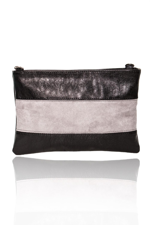 КлатчКлатчи<br>Женские сумки бренда DINESSI - это стильные аксессуары, которые по достоинству оценят представительницы прекрасного пола.  Клатч со вставкой на передней части изделия. Съемная лямка с регулятором. Застежка на молнию. На задней части сумки карман на молнии. Внутри два накладных кармана и карман на молнии.  В изделии использованы цвета: черный, серый.  Размеры: Высота - 18,5 ± 1 см Длина - 28,5 ± 1 см Ширина - 1 см<br><br>По материалу: Искусственная кожа,Замша<br>По рисунку: Цветные<br>По силуэту стенок: Прямоугольные<br>По способу ношения: В руках,На плечо<br>По степени жесткости: Мягкие<br>По типу застежки: С застежкой молнией<br>По элементам: Карман на молнии<br>Ручки: Длинные<br>Отделения: 1 отделение<br>По стилю: Повседневный стиль<br>Размер : UNI<br>Материал: Искусственная кожа + Искусственная замша<br>Количество в наличии: 1