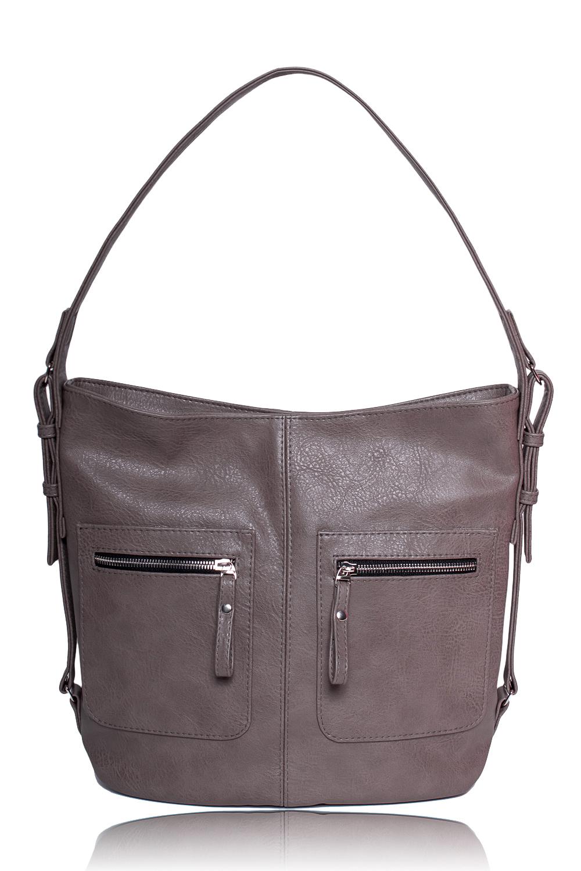 СумкаСумки-шоппинг<br>Женские сумки бренда DINESSI - это стильные аксессуары, которые по достоинству оценят представительницы прекрасного пола.  Сумка мешок с застежкой на молнию и одной лямкой. На передней части сумки средний шов и два кармана на молнии. Внутри два накладных кармана и карман на молнии.  Цвет: серо-бежевый.  Длина - 37 ± 1 см Высота - 31,5 ± 1 см Ширина - 11 ± 1 см<br><br>По материалу: Искусственная кожа<br>По размеру: Крупные<br>По рисунку: Однотонные<br>По способу ношения: В руках,На плечо<br>По степени жесткости: Мягкие<br>По типу застежки: С застежкой молнией<br>По элементам: Карман на молнии,Карман под телефон<br>Ручки: Короткие<br>По форме: Квадратные<br>Размер : UNI<br>Материал: Искусственная кожа<br>Количество в наличии: 1