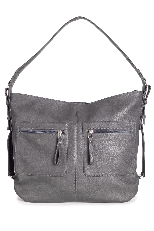 Сумка - шоппингСумки-шоппинг<br>Женские сумки бренда Lacy - это стильные аксессуары, которые по достоинству оценят представительницы прекрасного пола.  Сумка мешок с застежкой на молнию и одной лямкой. На передней части сумки средний шов и два кармана на молнии. Внутри два накладных кармана и карман на молнии.  Цвет: серый.  Длина - 43 ± 1 см Высота - 30,5 ± 1 см Глубина - 11 ± 1 см<br><br>По материалу: Искусственная кожа<br>По размеру: Крупные<br>По рисунку: Однотонные<br>По элементам: Карман на молнии,Карман под телефон<br>По силуэту стенок: Квадратные<br>По способу ношения: В руках,На плечо<br>По степени жесткости: Мягкие<br>По типу застежки: С застежкой молнией<br>Ручки: Длинные<br>Размер: 1<br>Материал: Искусственная кожа<br>Количество в наличии: 1