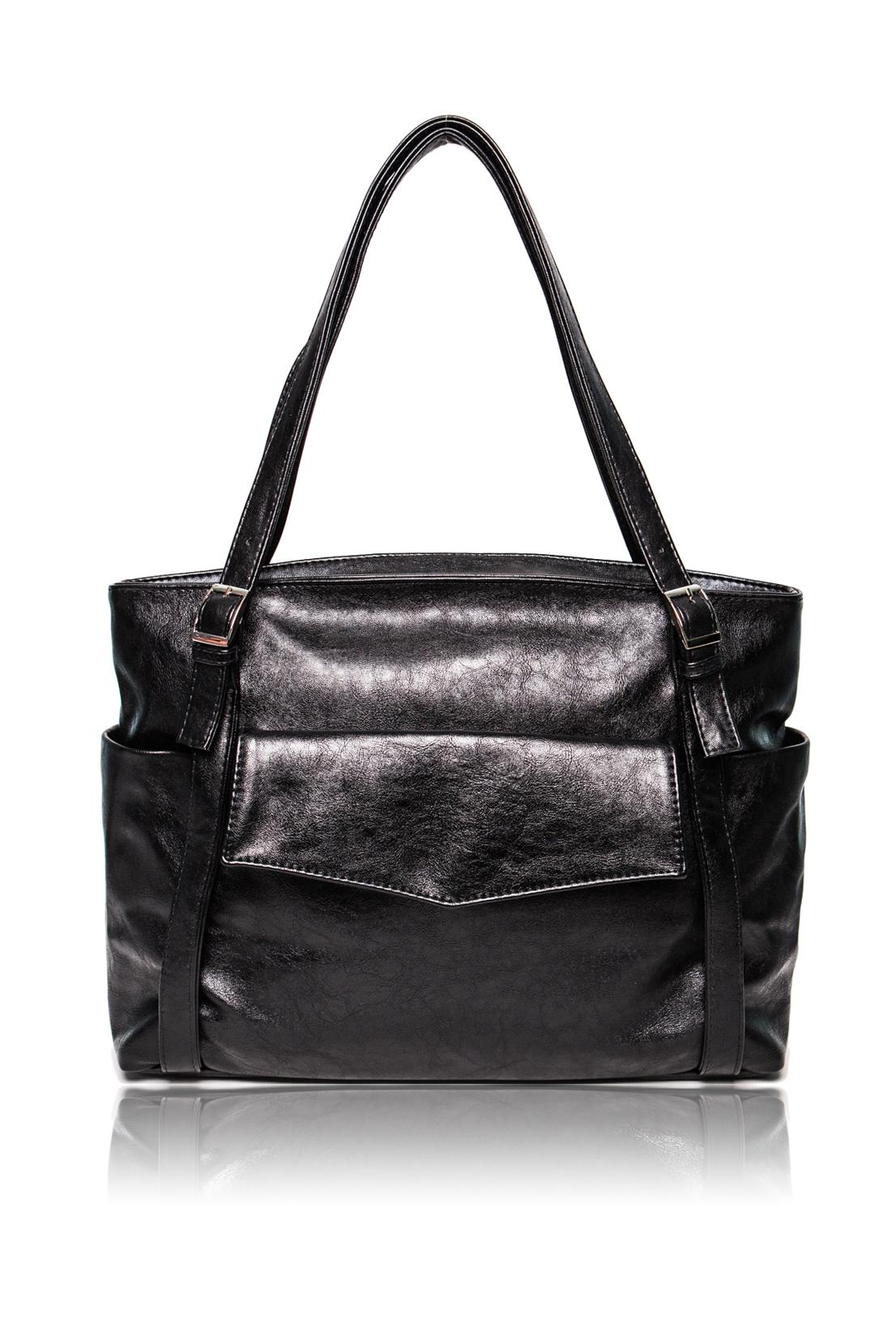 Сумка - шоппингСумки-шоппинг<br>Женские сумки бренда Lacy - это стильные аксессуары, которые по достоинству оценят представительницы прекрасного пола.  Сумка с застежкой на молнию. На передней части сумки накладной карман с клапаном и застежкой на магнит. Две лямки с регулировкой пряжками. Внутри два накладных кармана и карман на молнии.  Цвет: черный.  Длина - 42 ± 1 см Высота - 29 ± 1 см Глубина - 11,5 ± 1 см<br><br>По материалу: Искусственная кожа<br>По размеру: Средние<br>По рисунку: Однотонные<br>По элементам: Карман на молнии,Карман под телефон<br>По силуэту стенок: Прямоугольные<br>По способу ношения: В руках,На плечо<br>По степени жесткости: Мягкие<br>По типу застежки: На магните,С застежкой молнией<br>Ручки: Длинные<br>Размер: 1<br>Материал: Искусственная кожа<br>Количество в наличии: 1