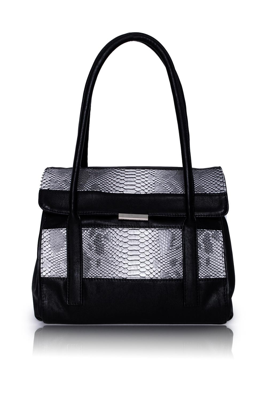 СумкаКлассические<br>Женские сумки бренда DINESSI - это стильные аксессуары, которые по достоинству оценят представительницы прекрасного пола.  Сумка с откидным клапаном и застежкой на магнит. На задней части сумки карман на молнии. Две короткие ручки. Внутри 4 отделениями (2 из них на молнии), два накладных кармана и карман на молнии.  Цвет: черный с серыми вставками.  Размеры: Высота - 26 ± 1 см Длина - 32 ± 1 см Ширина - 11,5 ± 1 см<br><br>Отделения: 4 отделения<br>По материалу: Искусственная кожа<br>По размеру: Средние<br>По рисунку: Рептилия,Цветные<br>По силуэту стенок: Прямоугольные<br>По способу ношения: В руках,На запастье,На плечо<br>По степени жесткости: Полужесткие<br>По типу застежки: На магните,С застежкой молнией<br>По элементам: Карман на молнии,Карман под телефон<br>Ручки: Короткие<br>Размер : UNI<br>Материал: Искусственная кожа<br>Количество в наличии: 1