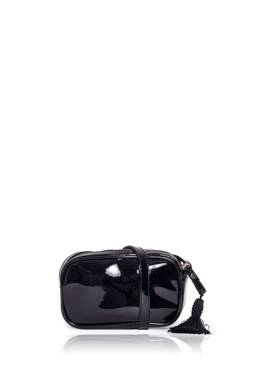 КлатчКлатчи<br>Женские сумки бренда DINESSI - это стильные аксессуары, которые по достоинству оценят представительницы прекрасного пола.  Клатч с застежкой на молнию и длинной лямкой.   Цвет: черный.  Размеры: Высота - 11,5 ± 1 см Длина - 18,5 ± 1 см Ширина - 4 ± 1 см<br><br>Отделения: 1 отделение<br>По материалу: Искусственная кожа,Лакированная кожа<br>По размеру: Маленькие<br>По рисунку: Однотонные<br>По способу ношения: В руках,На плечо,Через плечо<br>По степени жесткости: Мягкие<br>По стилю: Повседневный стиль<br>По типу застежки: С застежкой молнией<br>По форме: Прямоугольные<br>По элементам: С кисточками,С ремнями<br>Ручки: Длинные,Регулируемые<br>Размер : UNI<br>Материал: Искусственная кожа + Лак<br>Количество в наличии: 1