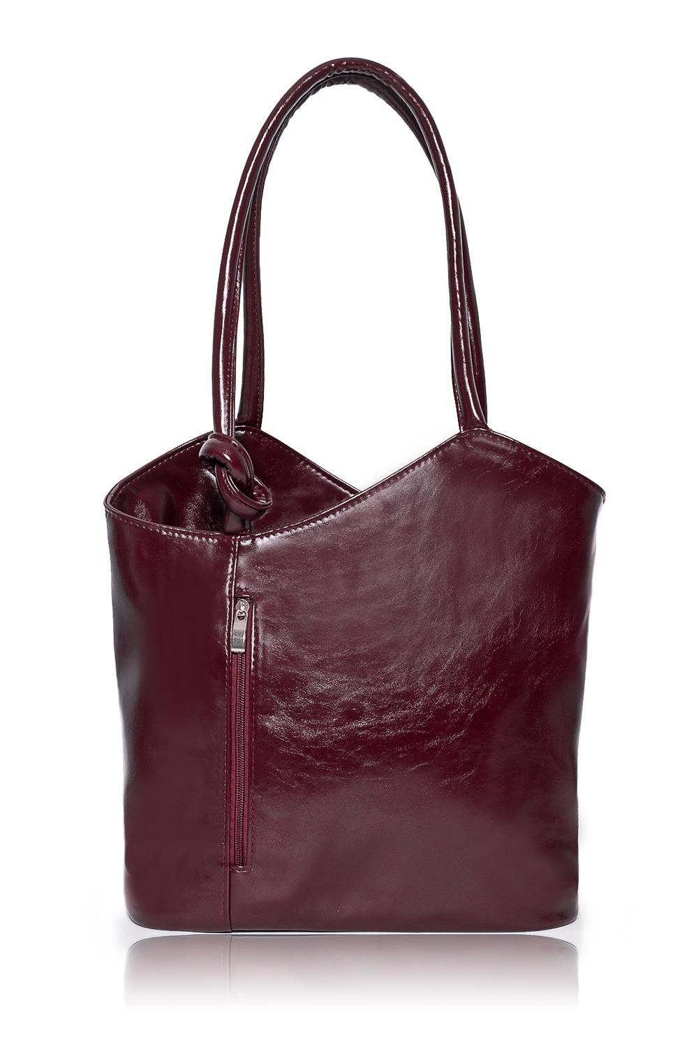 СумкаСумки-шоппинг<br>Женские сумки бренда DINESSI - это стильные аксессуары, которые по достоинству оценят представительницы прекрасного пола.  Сумка с асимметричным верхним срезом на молнии. Карманы на молнии на передней и задней частях изделия. Две ручки. Внутри два накладных кармана и карман на молнии.   Цвет: бордовый.  Подклад может отличаться от представленного на фото.  Размеры: Высота по центру - 29,5 ± 1 см Ширина - 36 ± 1 см Глубина - 11,5 ± 1 см<br><br>Отделения: 1 отделение<br>По материалу: Искусственная кожа<br>По размеру: Крупные<br>По рисунку: Однотонные<br>По способу ношения: В руках,На плечо<br>По степени жесткости: Мягкие<br>По типу застежки: С застежкой молнией<br>По элементам: Карман на молнии,Карман под телефон<br>Ручки: Длинные<br>Размер : UNI<br>Материал: Искусственная кожа<br>Количество в наличии: 1