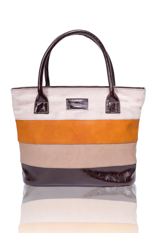СумкаСумки-шоппинг<br>Женские сумки бренда DINESSI - это стильные аксессуары, которые по достоинству оценят представительницы прекрасного пола.  Сумка - шоппинг с застежкой на молнию и двумя ручками. На задней части сумки карман на молнии. Внутри два накладных кармана и карман на молнии.   В изделии использованы цвета: бежевый, коричневый и др.  Размеры: Высота - 28,5 ± 1 см Длина - 39 ± 1 см Глубина - 11 ± 1 см<br><br>Отделения: 1 отделение<br>По материалу: Замша,Искусственная кожа<br>По размеру: Крупные<br>По рисунку: В полоску,Цветные<br>По силуэту стенок: Прямоугольные<br>По способу ношения: В руках,На плечо<br>По степени жесткости: Мягкие<br>По типу застежки: С застежкой молнией<br>По элементам: Карман на молнии,Карман под телефон<br>Ручки: Короткие<br>Размер : UNI<br>Материал: Искусственная кожа + Искусственная замша<br>Количество в наличии: 2