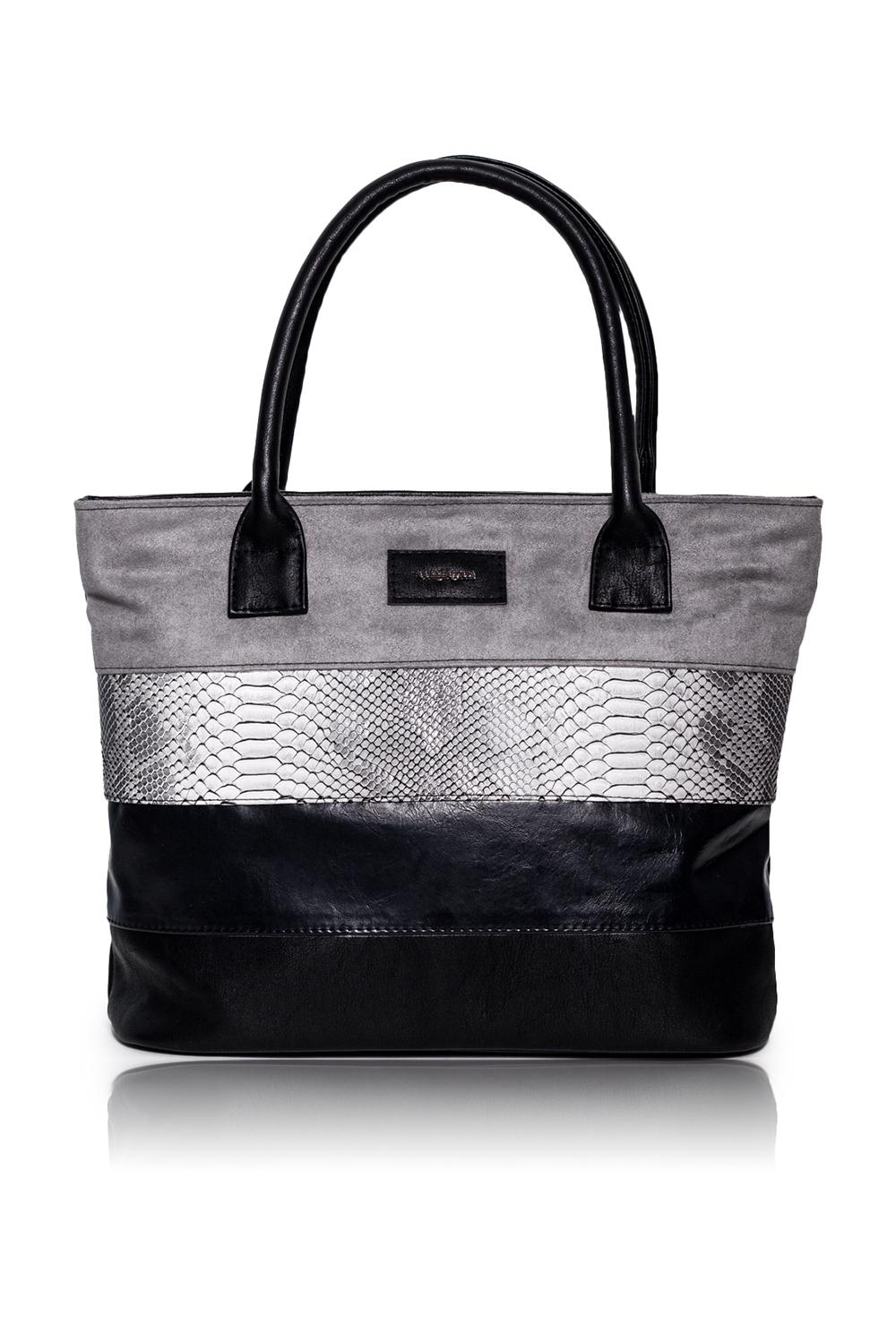 СумкаСумки-шоппинг<br>Женские сумки бренда DINESSI - это стильные аксессуары, которые по достоинству оценят представительницы прекрасного пола.  Сумка - шоппинг с застежкой на молнию и двумя ручками. На задней части сумки карман на молнии. Внутри два накладных кармана и карман на молнии.   В изделии использованы цвета: черный, серый.  Размеры: Высота - 28,5 ± 1 см Длина - 39 ± 1 см Глубина - 11 ± 1 см<br><br>Отделения: 1 отделение<br>По материалу: Замша,Искусственная кожа<br>По размеру: Крупные<br>По рисунку: В полоску,Цветные<br>По силуэту стенок: Прямоугольные<br>По способу ношения: В руках,На плечо<br>По степени жесткости: Мягкие<br>По типу застежки: С застежкой молнией<br>По элементам: Карман на молнии,Карман под телефон<br>Ручки: Короткие<br>Размер : UNI<br>Материал: Искусственная кожа + Искусственная замша<br>Количество в наличии: 1