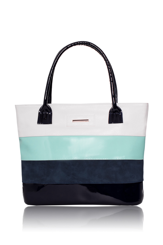 СумкаСумки-шоппинг<br>Женские сумки бренда DINESSI - это стильные аксессуары, которые по достоинству оценят представительницы прекрасного пола.Сумка - шоппинг с застежкой на молнию и двумя ручками. На задней части сумки карман на молнии. Внутри два накладных кармана и карман на молнии. В изделии использованы цвета: синий, белый, мятный,  и др.Размеры:Высота - 28,5 ± 1 смДлина - 39 ± 1 смГлубина - 11 ± 1 см<br><br>Застежка: С застежкой молнией<br>Материал: Замша,Искусственная кожа<br>По способу ношения: В руках,На плечо<br>По степени жесткости: Мягкие<br>Размер: Средние<br>Рисунок: В полоску,Цветные<br>Ручки: Короткие<br>Форма: Прямоугольные,Трапециевидные<br>Элементы: Карман на молнии,Карман под телефон,С декором<br>Размер : UNI<br>Материал: Искусственная кожа + Искусственная замша<br>Количество в наличии: 1