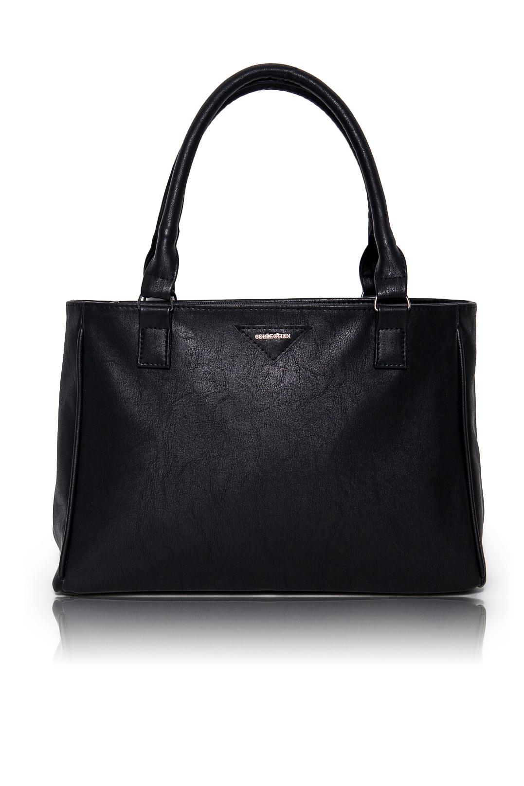 СумкаКлассические<br>Женские сумки бренда DINESSI - это стильные аксессуары, которые по достоинству оценят представительницы прекрасного пола.  Сумка жесткой формы с застежкой на молнию. На задней части изделия карман на молнии. Две короткие ручки. Внутри два накладных кармана и карман на молнии.   Цвет: черный.  Размеры: Высота по центру - 24 ± 1 см Длина - 34 ± 1 см Ширина - 10 ± 1 см<br><br>Отделения: 1 отделение<br>По материалу: Искусственная кожа<br>По размеру: Средние<br>По рисунку: Однотонные<br>По силуэту стенок: Прямоугольные<br>По способу ношения: В руках,На запастье,На плечо<br>По степени жесткости: Мягкие<br>По типу застежки: С застежкой молнией<br>По элементам: Карман на молнии,Карман под телефон,С декором<br>Ручки: Короткие<br>Размер : UNI<br>Материал: Искусственная кожа<br>Количество в наличии: 1