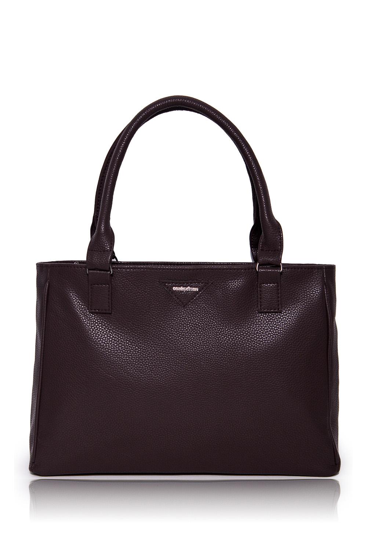 СумкаКлассические<br>Женские сумки бренда DINESSI - это стильные аксессуары, которые по достоинству оценят представительницы прекрасного пола.  Сумка жесткой формы с застежкой на молнию. На задней части изделия карман на молнии. Две короткие ручки. Внутри два накладных кармана и карман на молнии.   Цвет: коричневый.  Размеры: Высота по центру - 24 ± 1 см Длина - 34 ± 1 см Ширина - 10 ± 1 см<br><br>Отделения: 1 отделение<br>По материалу: Искусственная кожа<br>По размеру: Средние<br>По рисунку: Однотонные<br>По способу ношения: В руках,На запастье,На плечо<br>По степени жесткости: Мягкие<br>По типу застежки: С застежкой молнией<br>По элементам: Карман на молнии,Карман под телефон,С декором<br>Ручки: Короткие<br>По форме: Прямоугольные<br>Размер : UNI<br>Материал: Искусственная кожа<br>Количество в наличии: 1