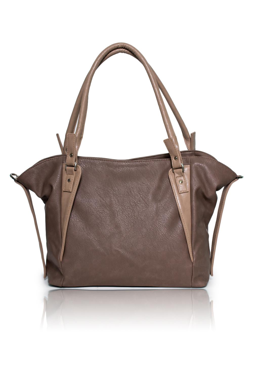 Сумка - шоппингСумки-шоппинг<br>Женские сумки бренда DINESSI - это стильные аксессуары, которые по достоинству оценят представительницы прекрасного пола.  Сумка - шоппинг с застежкой молнией, двумя короткими ручками и длинной, отстегивающейся лямкой. На задней части сумки карман на молнии. Внутри два накладных кармана и карман на молнии.   Цвет: коричневый с бежевым.  Размеры: Длина по верху - 51 ± 1 см Длина по донышку - 35 ± 1 см Высота - 29 ± 1 см Ширина - 14 ± 1 см Длина ручки - 60 ± 1 см<br><br>По материалу: Искусственная кожа<br>По рисунку: Однотонные<br>По силуэту стенок: Трапециевидные<br>По способу ношения: В руках,На плечо<br>По степени жесткости: Мягкие<br>По типу застежки: С застежкой молнией<br>По элементам: Карман на молнии,Карман под телефон,С ремнями<br>Ручки: Длинные,Короткие<br>Размер : UNI<br>Материал: Искусственная кожа<br>Количество в наличии: 1