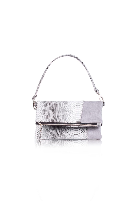 КлатчКлатчи<br>Женские сумки бренда DINESSI - это стильные аксессуары, которые по достоинству оценят представительницы прекрасного пола.  Сумка клатч с застежкой на молнию и отстегивающейся, короткой лямкой. Внутри два накладных кармана и карман на молнии.   Цвет: серый.  Размеры: Высота - 18 ± 1 см Длина - 28 ± 1 см Ширина - 1,5 ± 1 см Длина ручек - 52 ± 1 см<br><br>По материалу: Замша,Искусственная кожа<br>По размеру: Средние<br>По рисунку: Однотонные,Рептилия<br>По способу ношения: В руках,На запастье,На плечо<br>По степени жесткости: Мягкие<br>По типу застежки: С застежкой молнией<br>По элементам: Карман на молнии,Карман под телефон,С ремнями<br>Ручки: Короткие<br>По стилю: Повседневный стиль<br>По форме: Прямоугольные<br>Размер : UNI<br>Материал: Искусственная кожа<br>Количество в наличии: 1