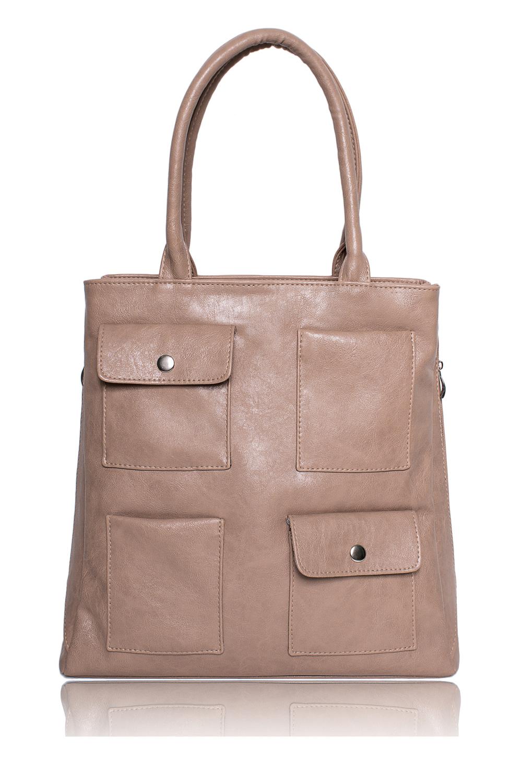 СумкаСумки-шоппинг<br>Женские сумки бренда DINESSI - это стильные аксессуары, которые по достоинству оценят представительницы прекрасного пола.  Сумка - шоппинг с застежкой на молнию. На передней части сумки накладные карманы, два из них с клапанами. По бокам молнии - регуляторы ширины. Внутри карман на молнии и два накладных кармана.   Цвет: бежевый.  Размеры: Высота - 36 ± 1 см Длина - 36 ± 1 см Ширина - 11,5 ± 1 см Длина ручек - 50 ± 1 см<br><br>По материалу: Искусственная кожа<br>По размеру: Крупные<br>По рисунку: Однотонные<br>По способу ношения: В руках,На плечо<br>По степени жесткости: Мягкие<br>По типу застежки: С застежкой молнией<br>По элементам: Карман на молнии,Карман под телефон,С декором<br>Ручки: Короткие<br>По форме: Квадратные<br>Размер : UNI<br>Материал: Искусственная кожа<br>Количество в наличии: 1