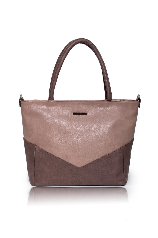 СумкаКлассические<br>Женские сумки бренда DINESSI - это стильные аксессуары, которые по достоинству оценят представительницы прекрасного пола.  Сумка классическая с застежкой на молнию и двумя короткими ручками. На задней части сумки карман на молнии. Внутри два накладных кармана и карман на молнии.   Цвет: бежевый, коричневый.  Размеры: Высота - 28 ± 1 см Длина по верху - 41 ± 1 см Длина по дну - 31 ± 1 см Ширина - 11 ± 1 см Длина ручек - 39 ± 1 см<br><br>По материалу: Искусственная кожа<br>По размеру: Средние<br>По рисунку: Однотонные<br>По силуэту стенок: Трапециевидные<br>По способу ношения: В руках,На запастье,На плечо<br>По степени жесткости: Мягкие<br>По типу застежки: С застежкой молнией<br>По элементам: Карман на молнии,Карман под телефон<br>Ручки: Короткие<br>Размер : UNI<br>Материал: Искусственная кожа<br>Количество в наличии: 1