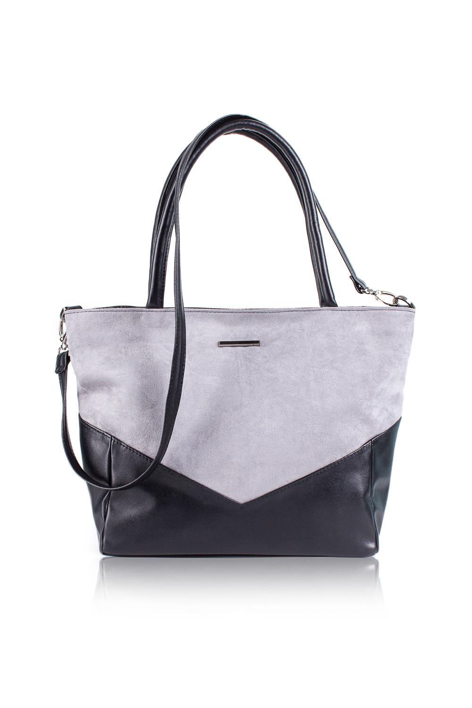 СумкаСумки-шоппинг<br>Женские сумки бренда DINESSI - это стильные аксессуары, которые по достоинству оценят представительницы прекрасного пола.  Сумка с застежкой на молнию и двумя короткими ручками. На задней части сумки карман на молнии. Внутри два накладных кармана и карман на молнии.   Цвет: серый (замша), черный (искусственная кожа).  Размеры: Высота - 28 ± 1 см Длина по верху - 41 ± 1 см Длина по дну - 31 ± 1 см Ширина - 11 ± 1 см Длина ручек - 39 ± 1 см<br><br>По материалу: Замша,Искусственная кожа<br>По размеру: Средние<br>По рисунку: Цветные<br>По способу ношения: В руках,На плечо<br>По степени жесткости: Мягкие,Полужесткие<br>По типу застежки: С застежкой молнией<br>По форме: Трапециевидные<br>По элементам: Карман на молнии,Карман под телефон,С декором,С отделочной фурнитурой,С ремнями<br>Ручки: Длинные,Короткие,Регулируемые<br>Размер : UNI<br>Материал: Искусственная кожа + Искусственная замша<br>Количество в наличии: 1
