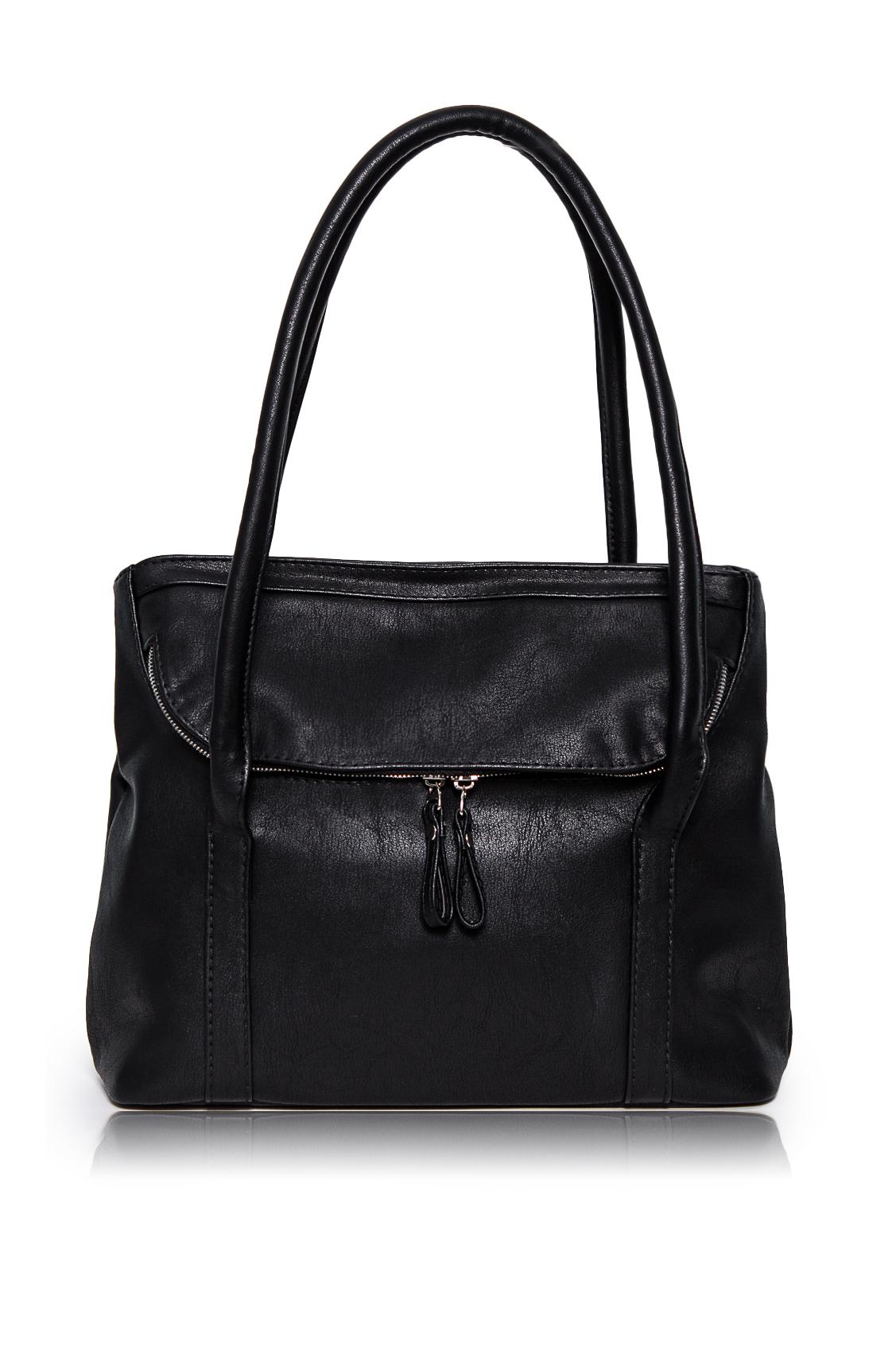 СумкаКлассические<br>Женские сумки бренда DINESSI - это стильные аксессуары, которые по достоинству оценят представительницы прекрасного пола.  Сумка с клапаном, застегивающимся на молнию и двумя ручками. Внутри два накладных кармана и карман на молнии.  Цвет: черный.  Размеры: Высота - 24,5 ± 1 см Длина - 32 ± 1 см Ширина - 11 ± 1 см Длина ручек - 71 ± 1 см<br><br>Отделения: 1 отделение<br>По материалу: Искусственная кожа<br>По размеру: Средние<br>По рисунку: Однотонные<br>По силуэту стенок: Прямоугольные<br>По способу ношения: В руках,На запастье,На плечо<br>По степени жесткости: Мягкие<br>По типу застежки: С застежкой молнией,С клапаном<br>По элементам: Карман на молнии,Карман под телефон,С декором,С отделочной фурнитурой<br>Ручки: Короткие<br>Размер : UNI<br>Материал: Искусственная кожа<br>Количество в наличии: 1